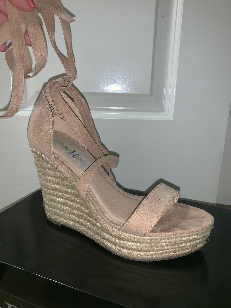 Pink tie up wedges
