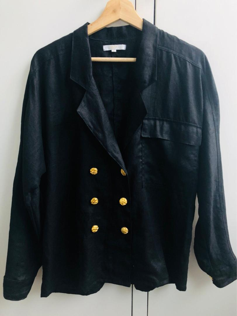 POSSE black linen double breasted shirt jacket - small