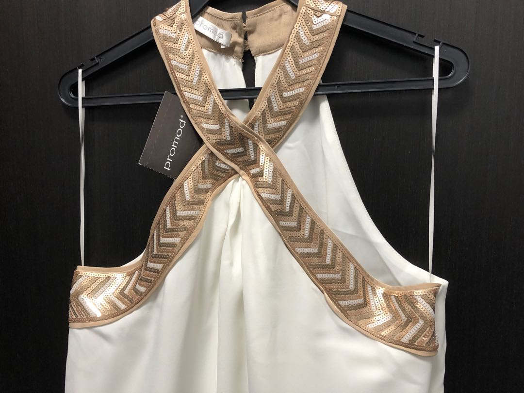 9401c4d9f7f166 Promod White and cream jumpsuit with sequined neckline, Women's Fashion,  Clothes, Rompers & Jumpsuits on Carousell