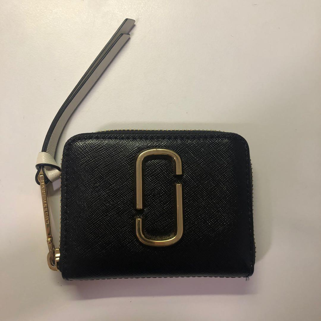 *REDUCED* AUTHENTIC MARC JACOBS SNAPSHOT BLACK & PINK MINI ZIP CARD CASE WALLET