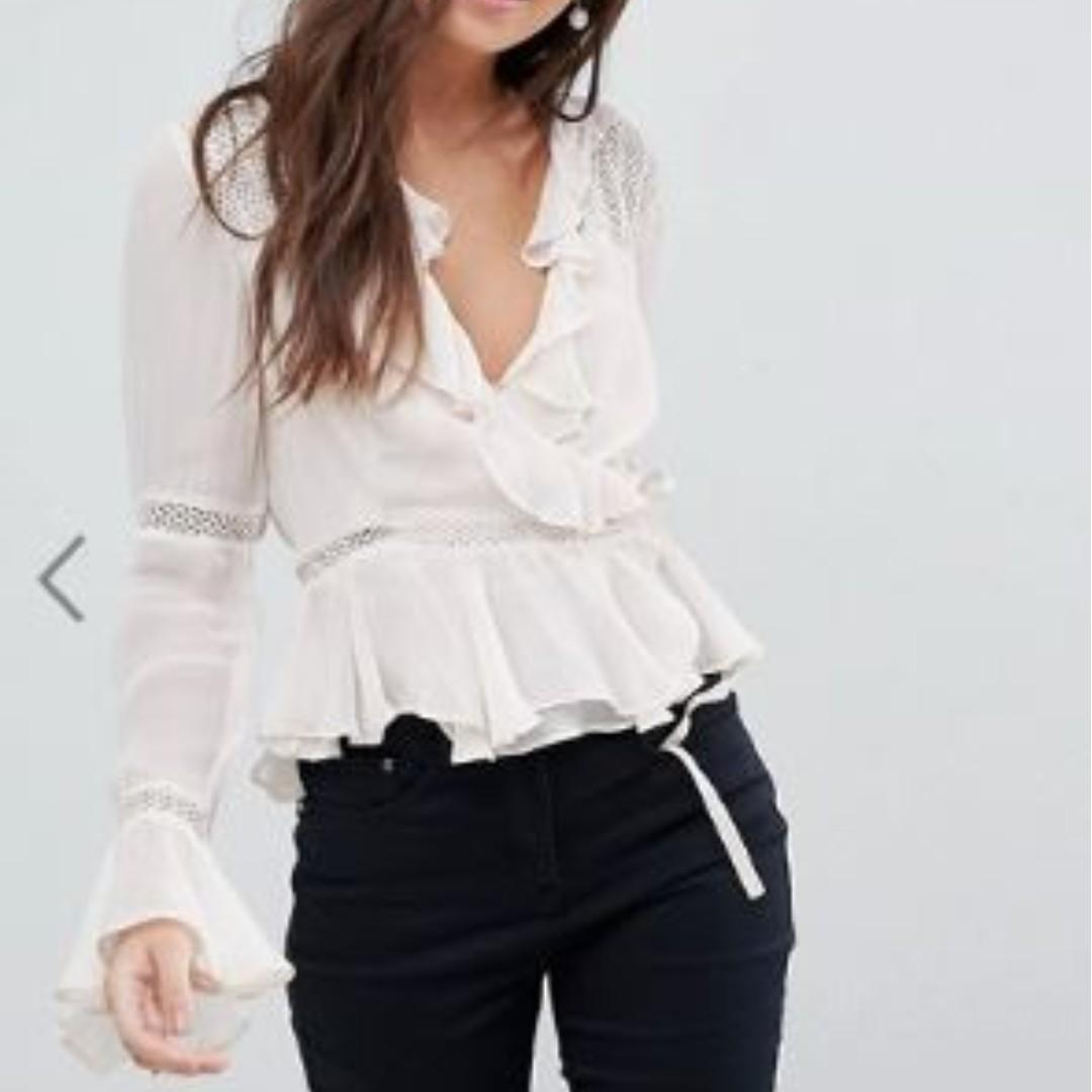 (RP$60) ASOS DESIGN LIGHT PINK WRAP BLOUSE