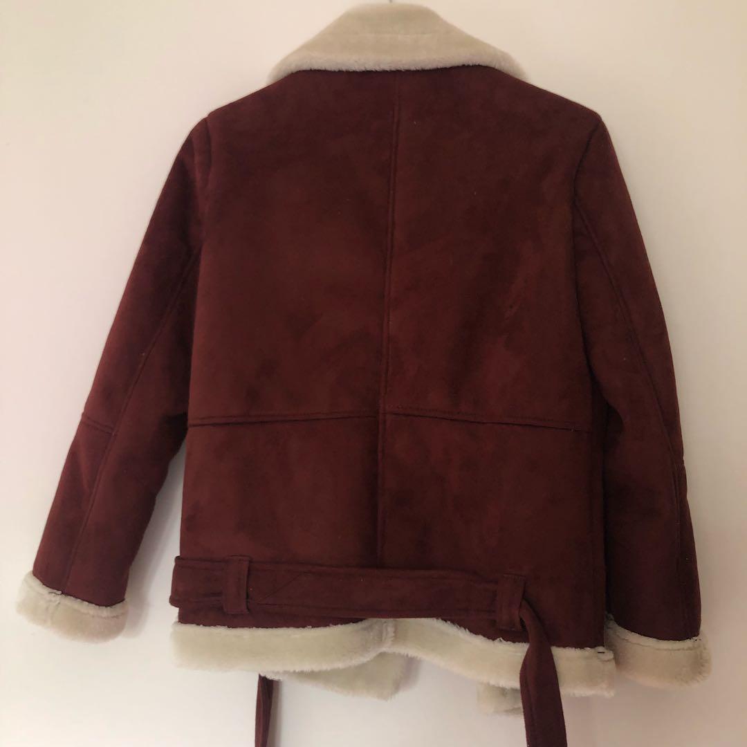 Topshop burgundy faux shearling jacket