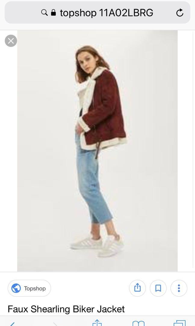 Topshop suede burgundy shearling jacket