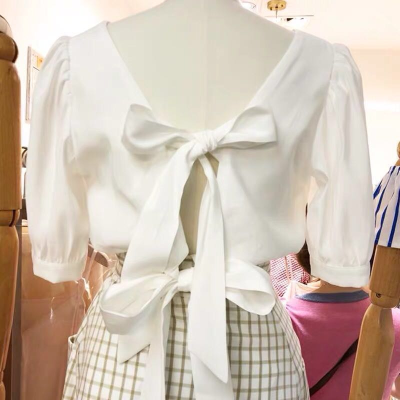 adfd6969dcb zara style white/cream Bow top blouse/shirt open back top French style