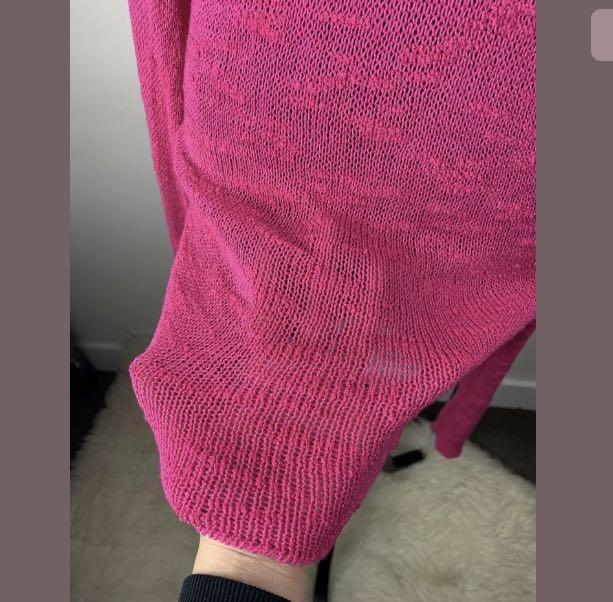 Zara sz S pink bright fuchsia open knit jumper sweater top tunic boho hippy