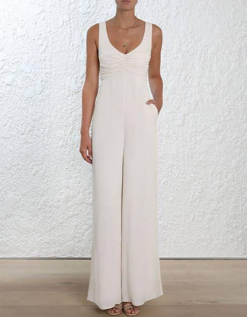 Zimmermann off white crepe jumpsuit size 2 RRP $550