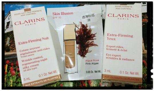 CLARINS EXTRA-FIRMING NUIT, EXTRA-FIRMING YEUX, SKIN ILLUSION SPF 10全新煥顏緊緻系列 (緊緻、提升、坑皺)