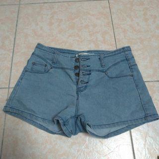 28腰淺藍色牛仔排扣高腰短褲/熱褲