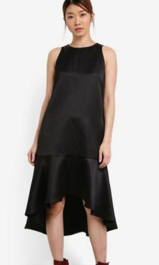 Black cut in sleeve with high low cut dress