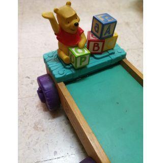 Toy Winnie the Pooh pull along cart/mainan kanak-kanak