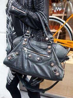 Balenciaga City Anthracite In Giant Silver Studs