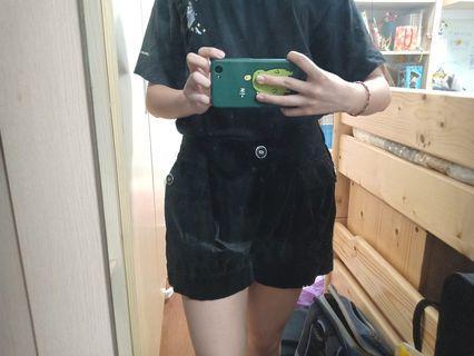 黑褲 黑短褲 絨布褲