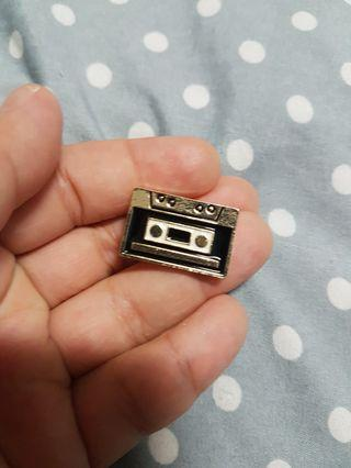 Casette tape enamel pin