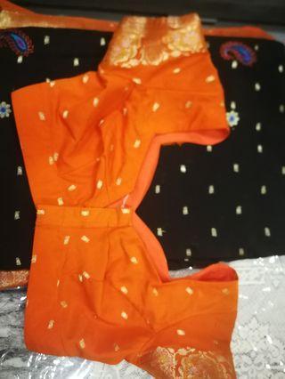 Black and orange border Saree