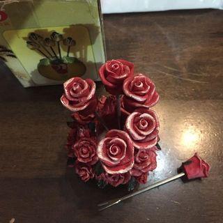 🚚 Rose skewer fork fruits flower rose