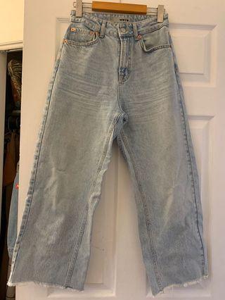 Topshop vintage wash cropped jeans sz 26W 30L