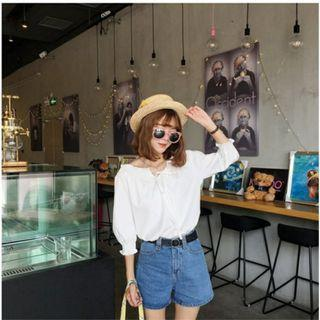 CLEARANCE - WHITE BASIC KOREAN OFF SHOULDER TOP