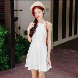 CLEARANCE - WHITE STRIPED HALTER DRESS