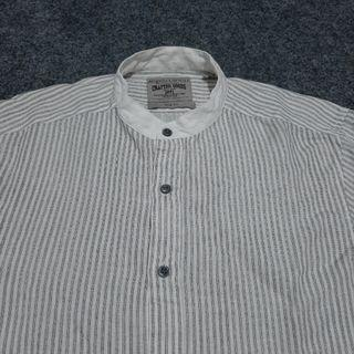 ANGELO LITRICO Mandarin Striped Linen Shirt Long Sleeve