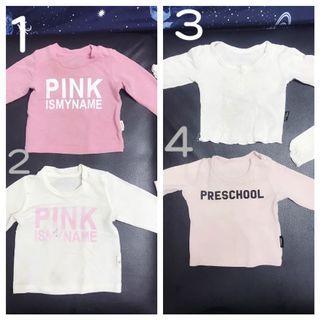 二手髒污寶寶長袖T恤字母粉色嬰兒上衣T恤6-12個月一歲59碼 四件$120