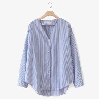 🚚 條紋v領襯衫