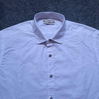 MANGO MAN Slimfit White Cotton Shirt Long Sleeve Size L