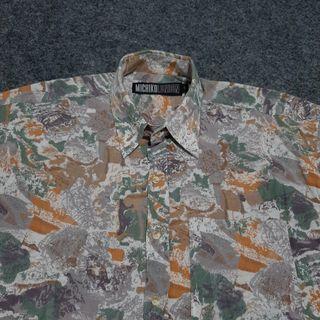 MICHIKO LONDON Print Vintage Shirt Short Sleeve Size S fit M