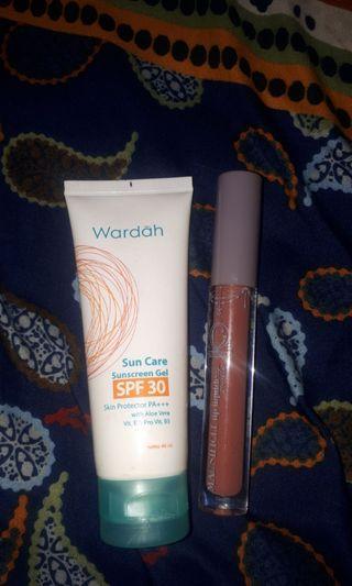 Wardah sun care + lipcream madamegie