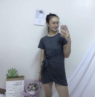 🚚 二手 灰色綁帶洋裝