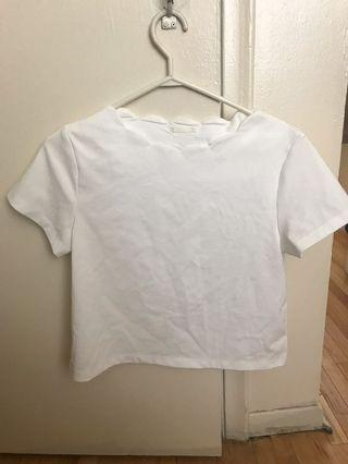 Thick white short sleeve shirt (size L)