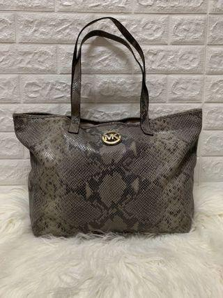 MICHAEL KORS snake skin leather tote bag