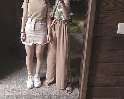 🚚 杏色牛仔短裙