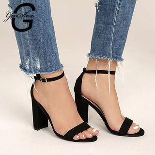 (PO) 35-42 2019 Ankle Strap Heels Women Sandals Summer Shoes Women Open Toe Chunky High Heels