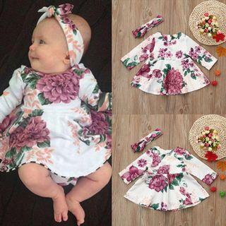 Baby dress set comes w matching headband PREORDER