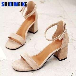 (PO) 34-40 Beige Black Gladiator Sandals Summer Office High Heels Shoes Woman Buckle Strap Pumps Casual