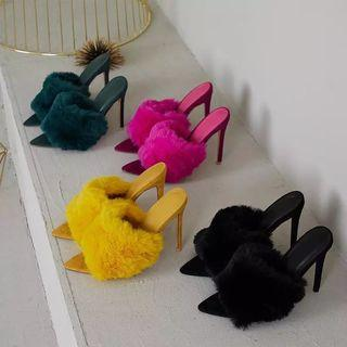 (PO) 35-43 2019 European Station Sandals Candy Color Luxury Rabbit Fur High Heel Sandals Slippers Large Women