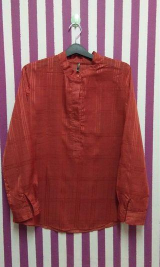 Ladylike stripes sheer blouse top long sleeves #JuneToGo