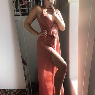 Dusty Pink Jumpsuit with Deep V and Leg Slits