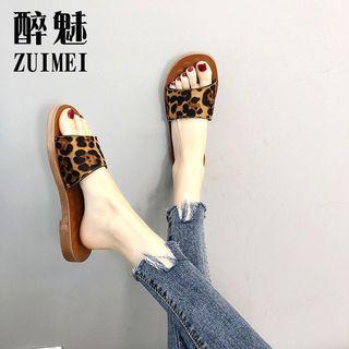 2019 bear flat bottom web celebrity leopard print slippers for women