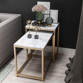 Set of 2 Marble Side Table