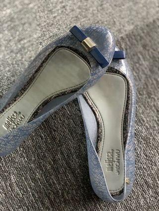 Melissa Jason Wu Blue lace print bow flats