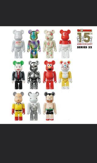 Medicom toy bearbrick series 32 be@rbrick 小丑 一拳超人 未來戰士 100% figure