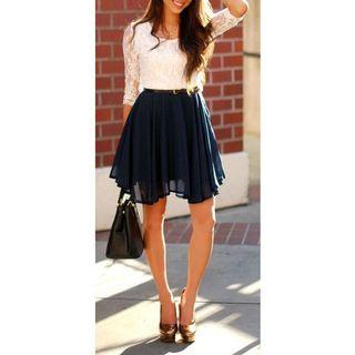 Cream lace top navy chiffon Skater Dress