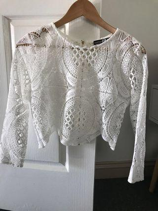 White Lace Top with Zip Back