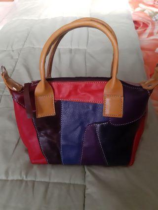 Leather Bag Color Patchwork