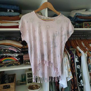 Tree of life pink tie dye sun moon space print top