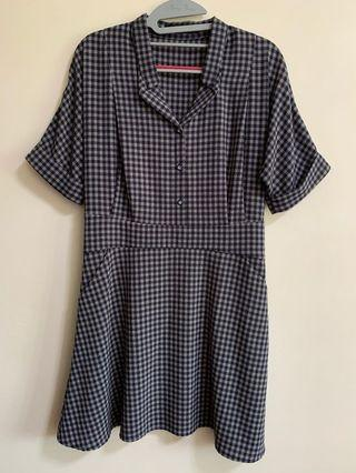 🚚 Ninth Collective Blue Checkered Dress