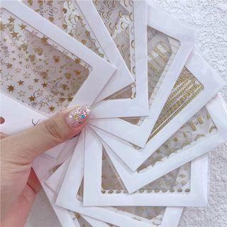 日系指甲貼美甲貼紙背膠英文字母愛心星星微笑線五角星鏈條【金色/3張ㄧ組