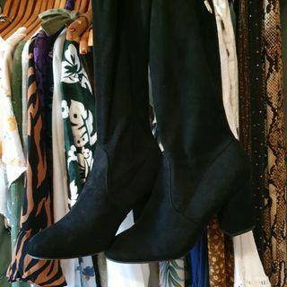 Knee high faux suede heeled boots