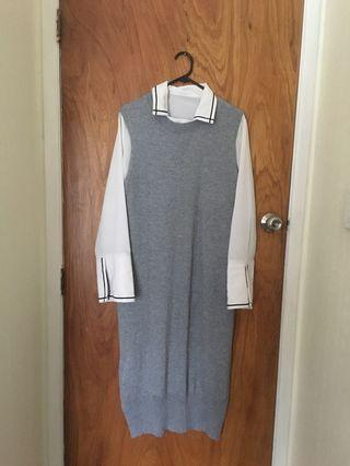 Knitted vest dress two pieces